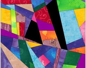 Complex Crazy Patch 11 Paper Foundation Piece Quilting Block Pattern PDF