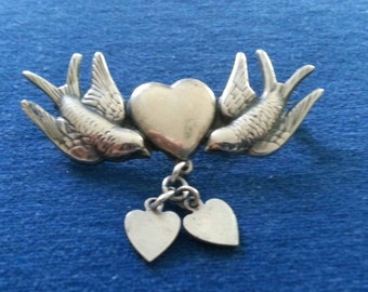 Vintage Sterling Sweetheart Brooch Pin, Love Birds Hearts