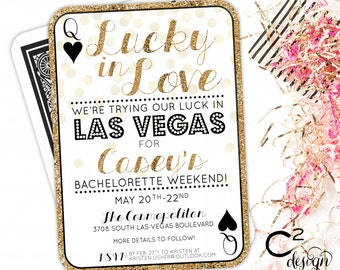 Lucky in Love Las Vegas Bachelorette Invitation