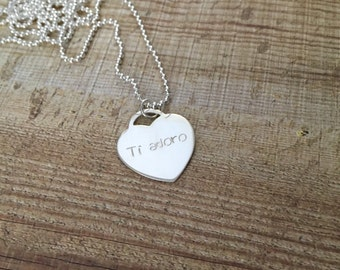 Heart Sterling Silver Necklace   Handstamped