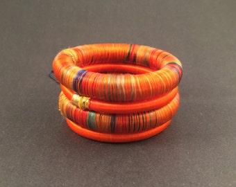 4 orange silk thread wrap bracelet bangle india