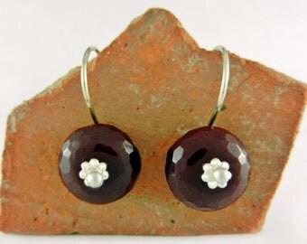 Silver Earrings ~ Red Earrings ~ Sleeper Earrings ~ Lightweight Earrings ~ Small Drop Earrings ~ Everyday Earrings ~ Minimalist Earrings