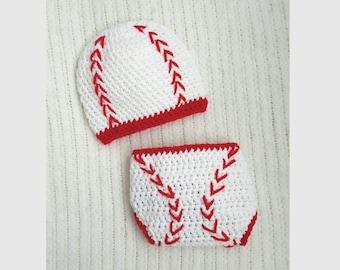 Baseball baby hat and diaper cover, baby gift, crochet baseball beanie, baby boy gift, newborn photo prop, 0-3 month baby shower gift
