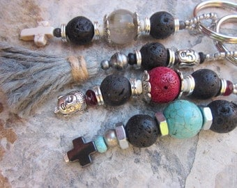 beaded keychain lava stone fathers day gift mens beaded car charm women's keychain protective bohemian religious spiritual yoga gift for Dad