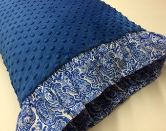 Minky Dot King Size Pillowcase made with Royal Blue Minky Dot with Blue and White Paisley Print Ruffles