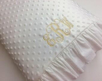 Minky Dot Pillowcase made with White Minky Dot with White Swiss Dot Ruffles