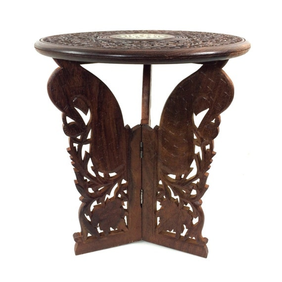 vintage wood inlay lamp table plant stand with carved legs 12 tall. Black Bedroom Furniture Sets. Home Design Ideas