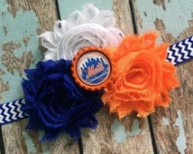 New York METS NY MLB Baseball shabby flower headband Baby Little Girl Hair Bow - Photo Prop