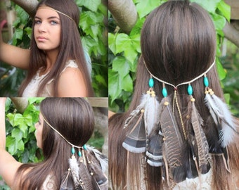 Bo Ho Chic Indian Headpiece Gypsy * Festival* Feather Headpiece