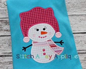 Snowgirl Winter Machine Applique Design