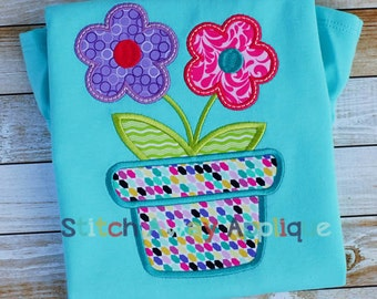 Spring Flower Pot Machine Applique Design