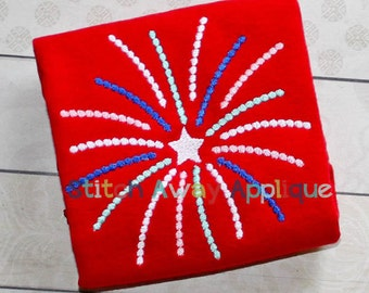 Starburst Fireworks Patriotic Fourth of July Machine Embroidery Design
