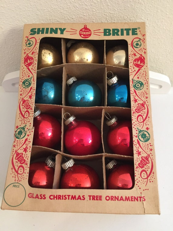 Boxed Shiny Brite Christmas Ornaments Multi Colored Box of