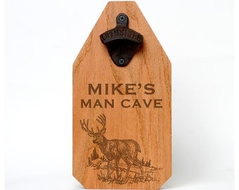 Personalized Man Cave Wood Sign - Rustic Deer Hanging Beer Bottle Opener