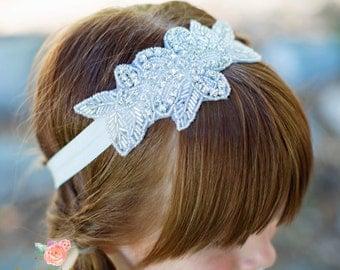 rhinestone headband flower girl headband bridal headband