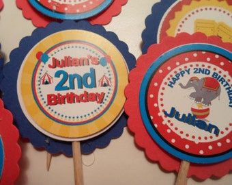 Circus Carnival Cupcake Toppers-Cupcake Picks-Carnival Cupcake Toppers-Personalized Cupcake Toppers