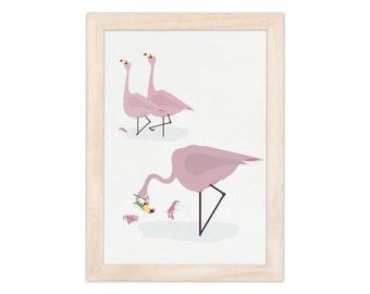 Art print - flamingo | children - nursery | A4 - 8.27 x 11.69 inches