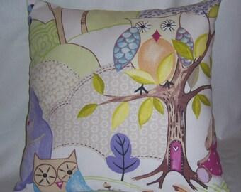 "Owl & Bunny Print -  Pillow Cover 18"""