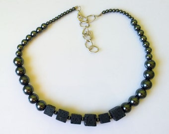 Handmade necklace made of Hematite an voulcanic Lava