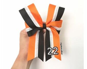 Custom Color Number Bow (black bottom ribbon)