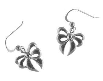 Sterling Silver Bow Earrings, Silver Drop Earrings, Valentine's Gift, Birthday Gift