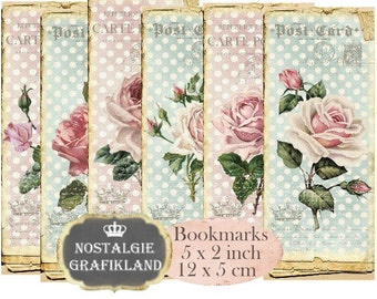 Shabby Chic Roses Bookmarks printable Instant Download digital collage sheet Old Paper E049