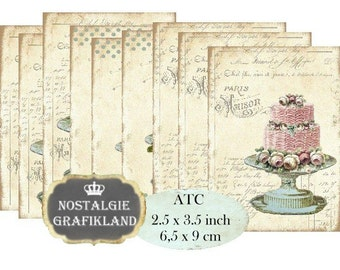 French Patisserie Cakes Wedding Cakes Tarte Gateaux Instant Download ATC digital collage sheet S129