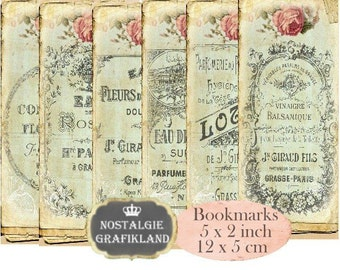 French Perfume Bookmarks Instant Download digital collage sheet E187 Vintage Parfum