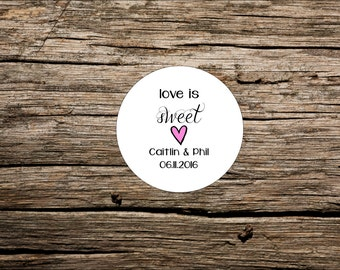 Love is Sweet, Custom Wedding Favor Tags, Round Favor Tags, Favor Tag