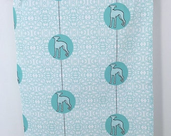 Whippet Greyhound Dog Breed Tea Towel, whippet dish cloth, kitchen gift - in Aqua Blue and White