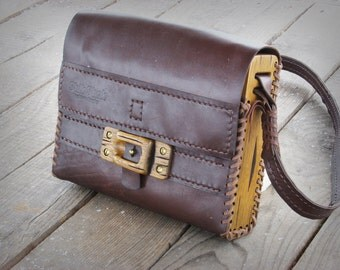 Hand sewn unique handmade leather -  wood shoulder bag / made to order