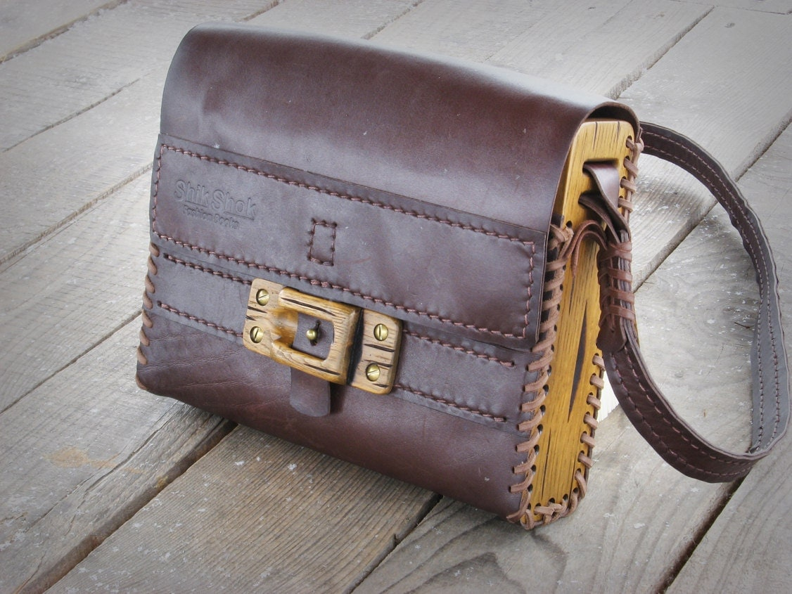 Hand sewn unique handmade leather wood shoulder bag / made