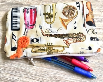 Hand made music notes pencil case (pouch)