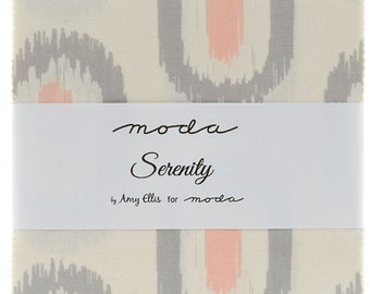 "Serenity by Moda 42 5"" Charm Pack Squares 100% Designer Cotton by Amy Ellis 3520PP"