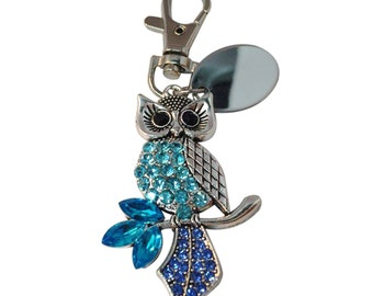 Blue/green diamante owl keyring, custom engraved personalised in gift pouch - PL518