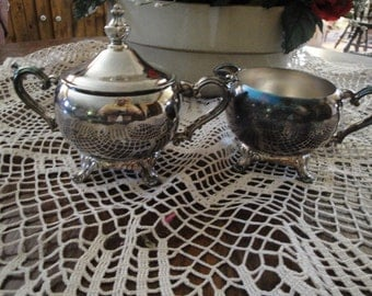Unmarked Silverplate Creamer And Covered Sugar Vintage For Tea Set