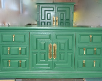 SOLD Dresser/Credenza Tv stand . many uses for the beauty Kelly Green  Dresser.Part of a bedroom set
