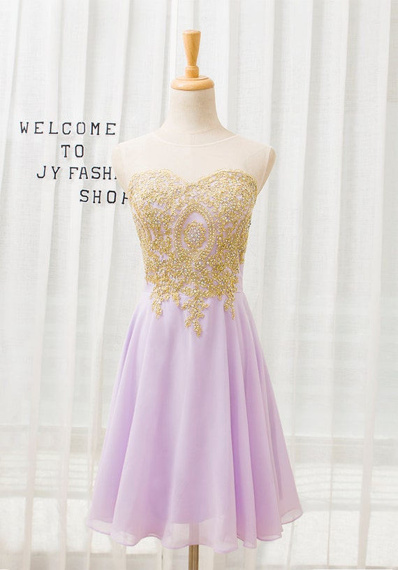 Short Lavender homecoming dress,2016 Gold Lace prom dress, Sexy Round evening dress, knee length prom bridesmaid dress