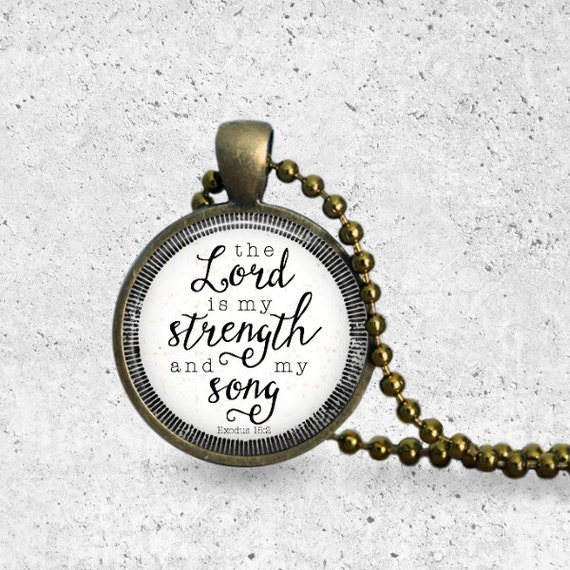 Christian Jewelry, The Lord Is My Strength, Music Note, Scripture Necklace, Pendant, Strength Quote, Christian Necklace, Christian Gift