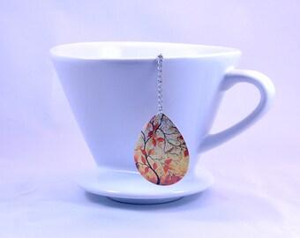 Tea Infuser Loose Leaf Tea Strainer Mesh Ball Orange Bird Fall Leaves Pendant