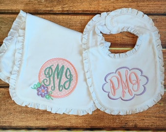 Appliquéd Baby Burp Cloth and bib set - Personalized with Monogram