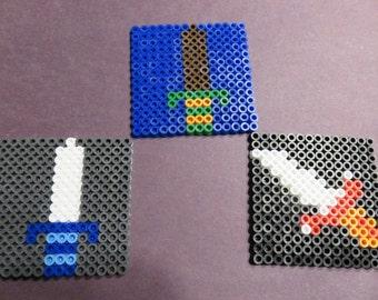 Legend of Zelda Weapon Coaster Set Perler Bead Art