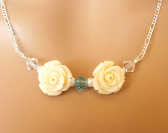 Flower Necklace, Roses and Crystals, Swarovksi Elements, Sterling Chain, Figuaro Chain, Blue and Cream, White and Blue, Contemporary Look
