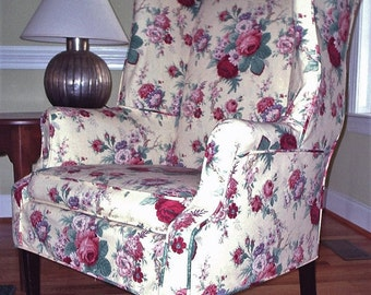 Have a custom wing chair cover made for your chair from your own fabric!