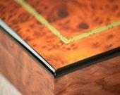 DeskTop Humidor Piano Finish w/Genuine Spanish Cedar Liner & Humidifier Burlwood