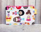 SALE Superhero Girls Pencil Case Bright Retro Fabric Make up Bag Zippered Pouch Handmade Large Childs Pencil Case Back to School