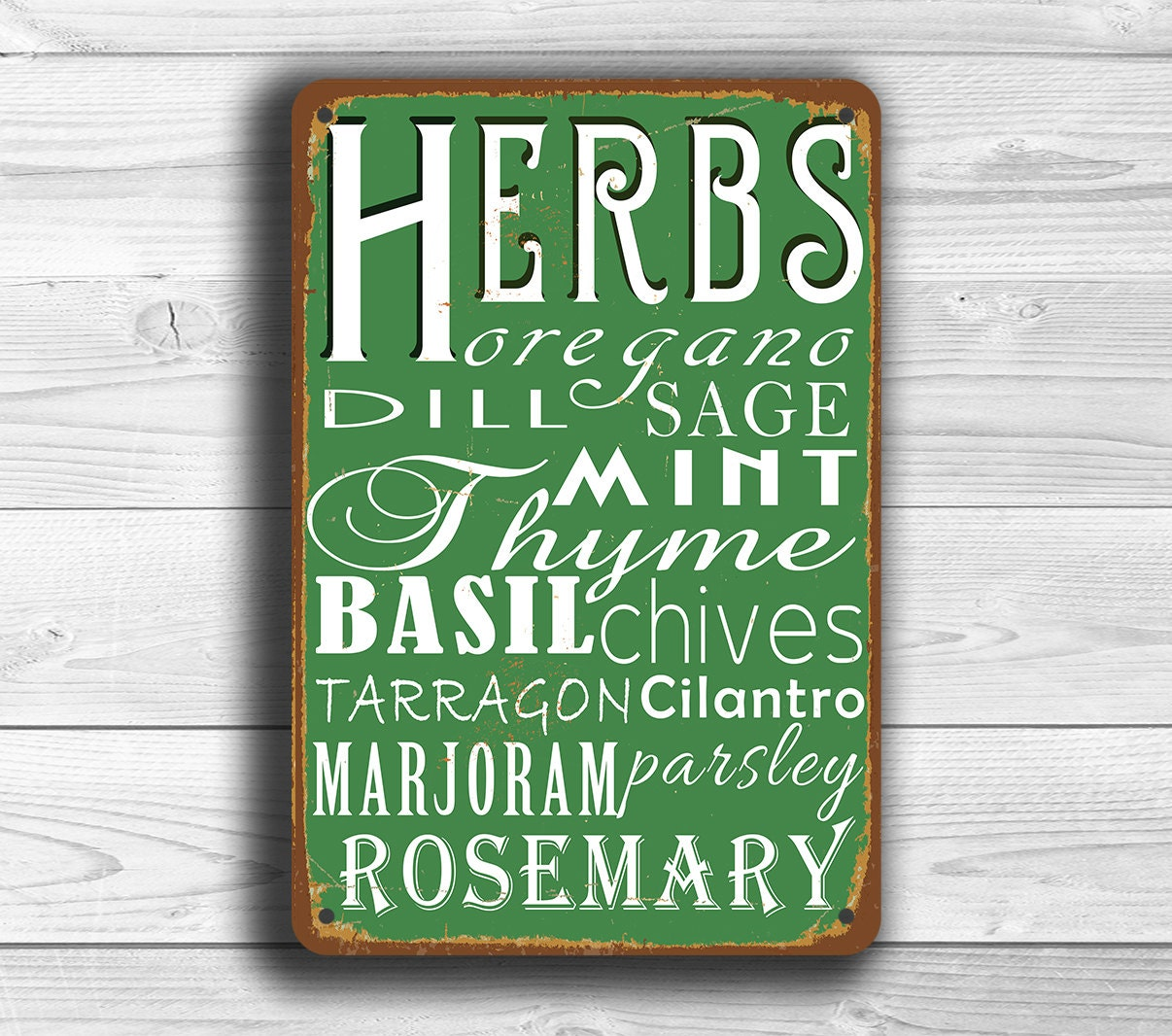 KITCHEN SIGN Vintage Style Metal Kitchen Sign Kitchen Herbs