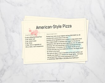Editable front and back Recipe Cards, 4x6 card, instant PDF, watercolor splash