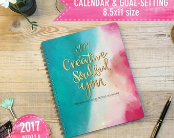 2017 Printable Planner - Goal-setting and weekly/monthly calendar all-in-one - DIGITAL