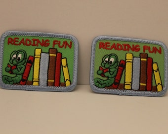 Reading is Fun patches (2) - library books bookworm booklover patch lot pack reader